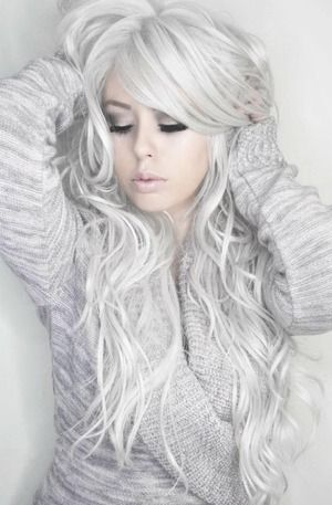 Beautiful white hair model